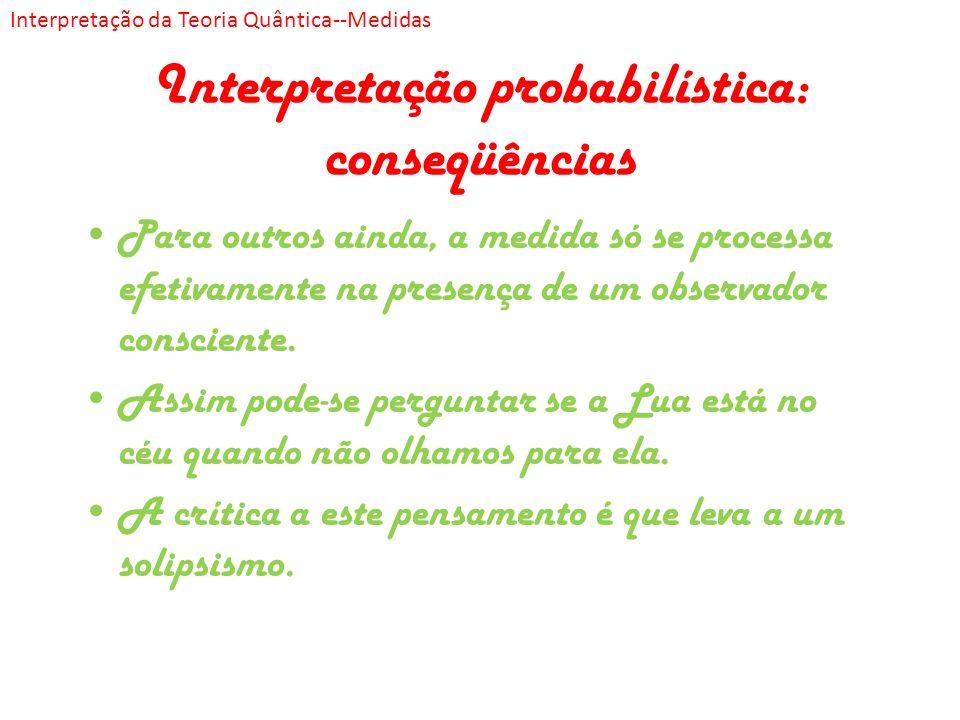 Interpretação probabilística: conseqüências Para outros ainda, a medida só se processa efetivamente na presença de um observador consciente. Assim pod
