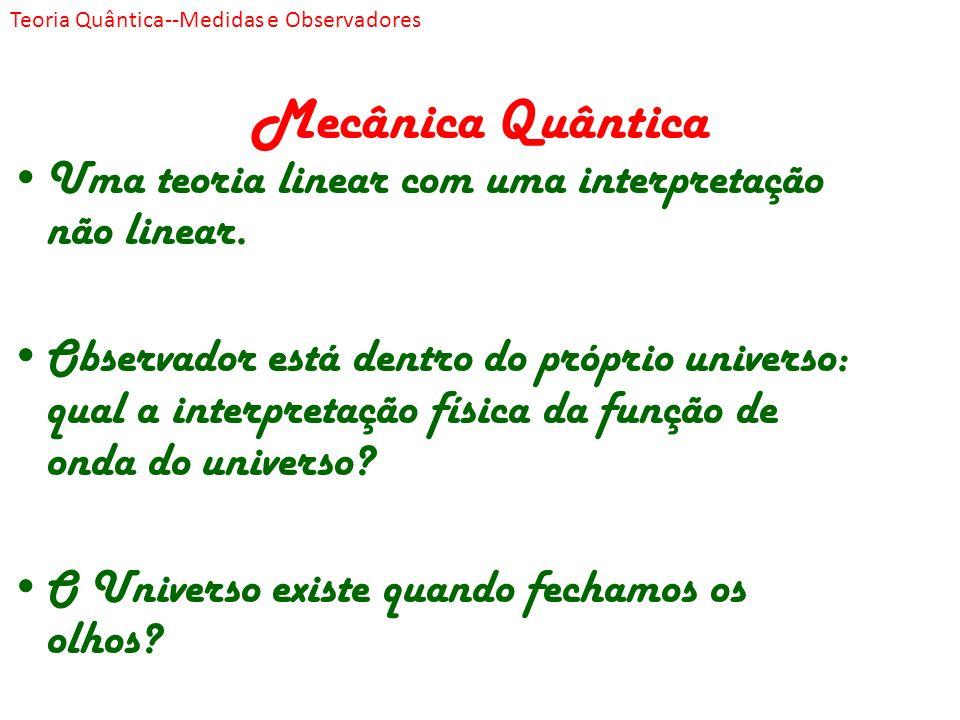 Mecânica Quântica Uma teoria linear com uma interpretação não linear. Observador está dentro do próprio universo: qual a interpretação física da funçã