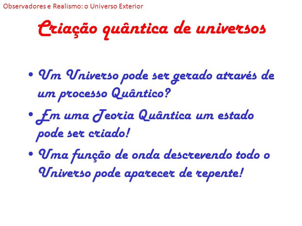 Criação quântica de universos Um Universo pode ser gerado através de um processo Quântico? Em uma Teoria Quântica um estado pode ser criado! Uma funçã