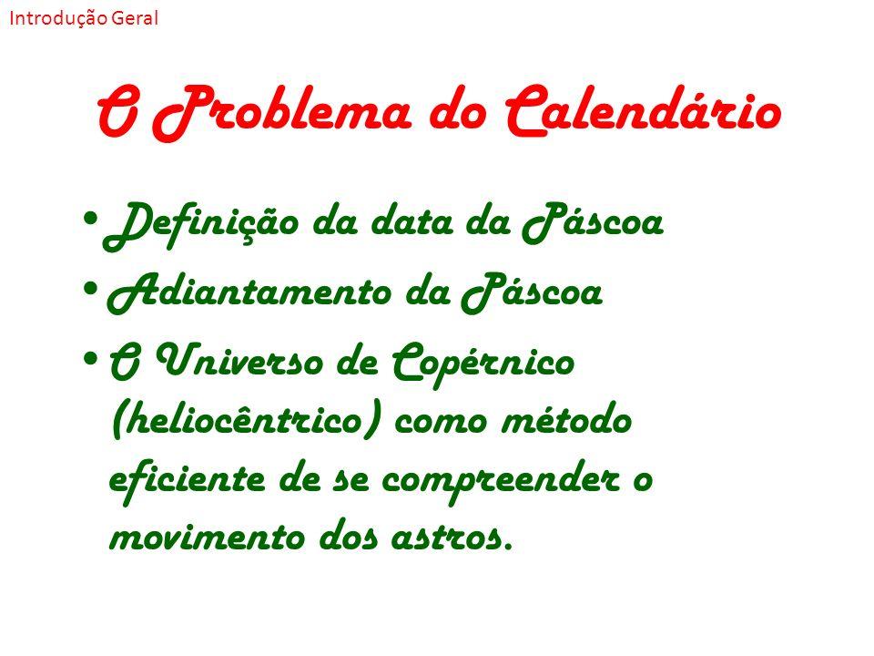 O Problema do Calendário Definição da data da Páscoa Adiantamento da Páscoa O Universo de Copérnico (heliocêntrico) como método eficiente de se compre