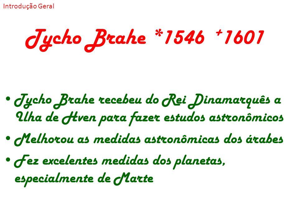 Tycho Brahe *1546 + 1601 Tycho Brahe recebeu do Rei Dinamarquês a Ilha de Hven para fazer estudos astronômicos Melhorou as medidas astronômicas dos ár