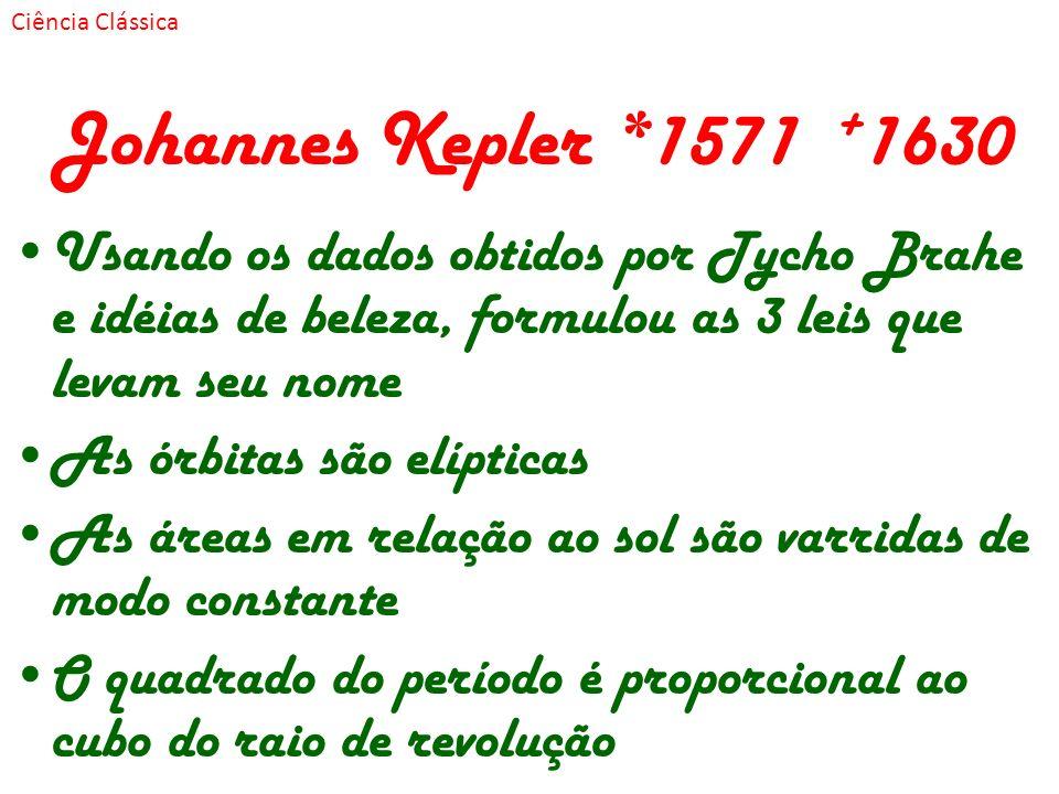 Johannes Kepler *1571 + 1630 Usando os dados obtidos por Tycho Brahe e idéias de beleza, formulou as 3 leis que levam seu nome As órbitas são elíptica