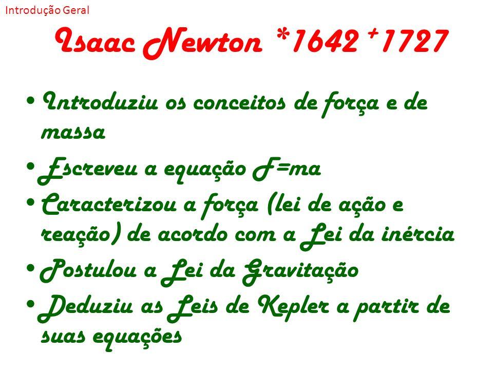 Isaac Newton *1642 + 1727 Introduziu os conceitos de força e de massa Escreveu a equação F=ma Caracterizou a força (lei de ação e reação) de acordo co