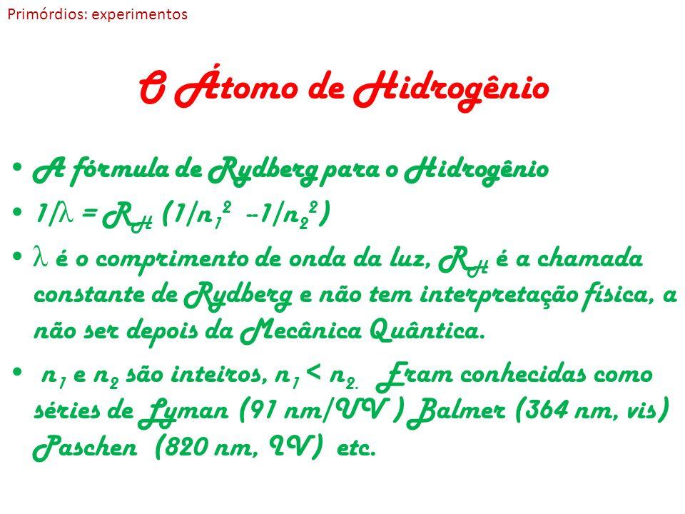 O Átomo de Hidrogênio A fórmula de Rydberg para o Hidrogênio 1/ λ = R H (1/n 1 2 --1/n 2 2 ) λ é o comprimento de onda da luz, R H é a chamada constan