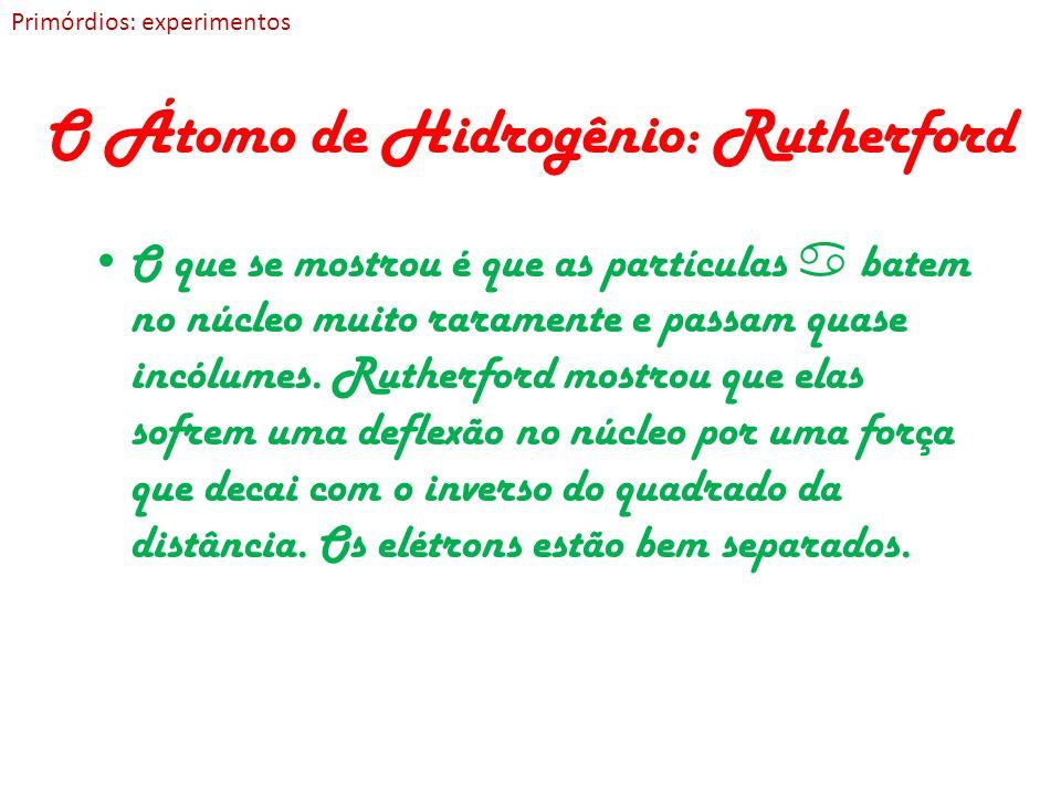 O Átomo de Hidrogênio: Rutherford O que se mostrou é que as partículas batem no núcleo muito raramente e passam quase incólumes. Rutherford mostrou qu