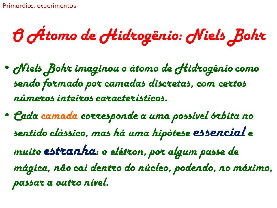 O Átomo de Hidrogênio: Niels Bohr Niels Bohr imaginou o átomo de Hidrogênio como sendo formado por camadas discretas, com certos números inteiros cara