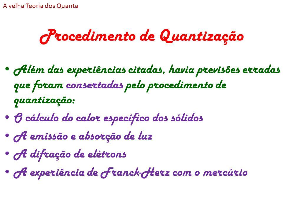 Procedimento de Quantização Além das experiências citadas, havia previsões erradas que foram consertadas pelo procedimento de quantização: O cálculo d