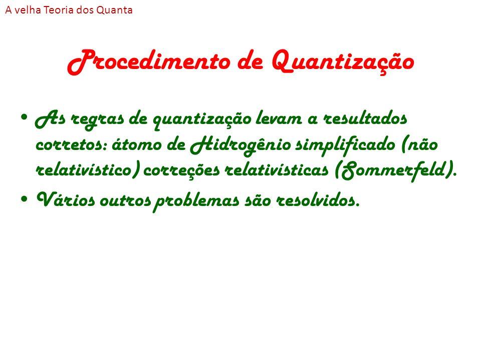 Procedimento de Quantização As regras de quantização levam a resultados corretos: átomo de Hidrogênio simplificado (não relativístico) correções relat