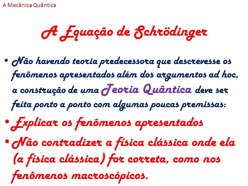 A Equação de Schrödinger Não havendo teoria predecessora que descrevesse os fenômenos apresentados além dos argumentos ad hoc, a construção de uma Teo