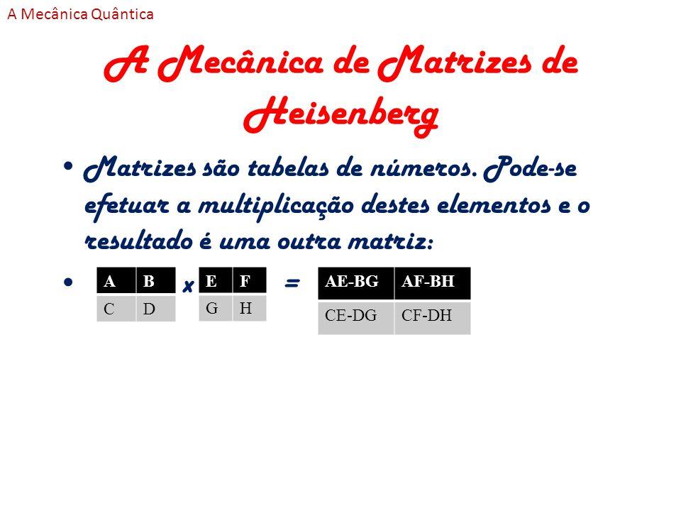 A Mecânica de Matrizes de Heisenberg Matrizes são tabelas de números. Pode-se efetuar a multiplicação destes elementos e o resultado é uma outra matri