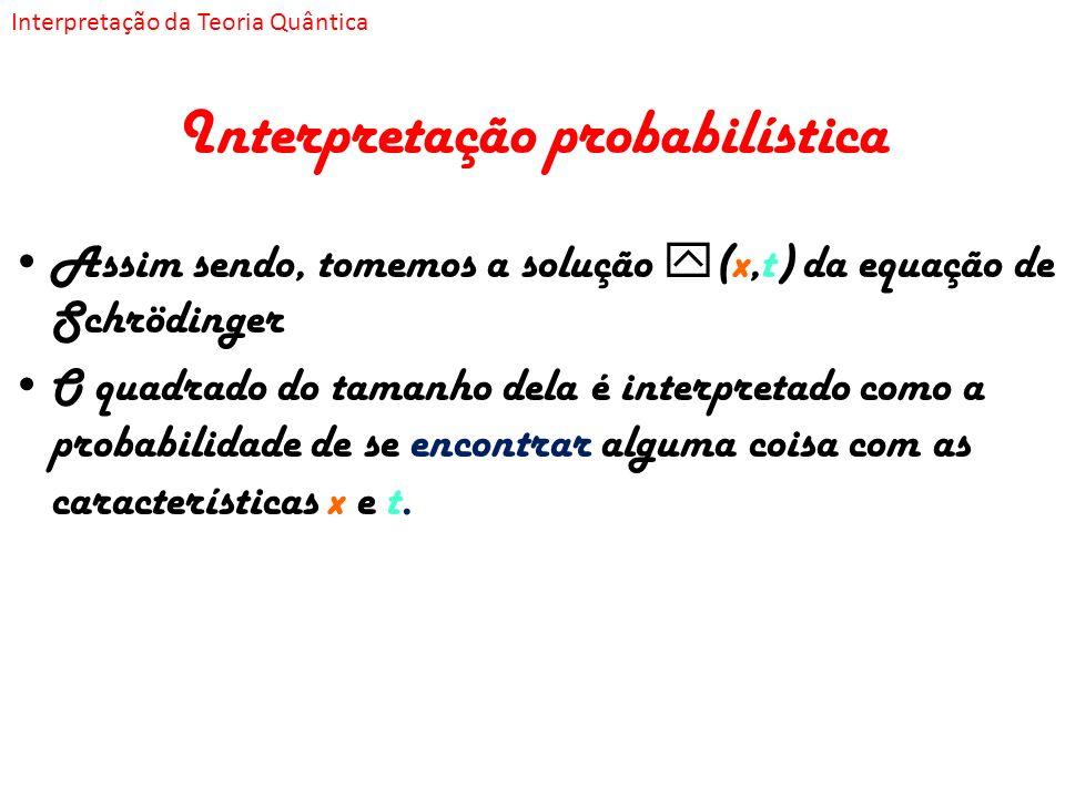 Interpretação probabilística Assim sendo, tomemos a solução (x,t) da equação de Schrödinger O quadrado do tamanho dela é interpretado como a probabili