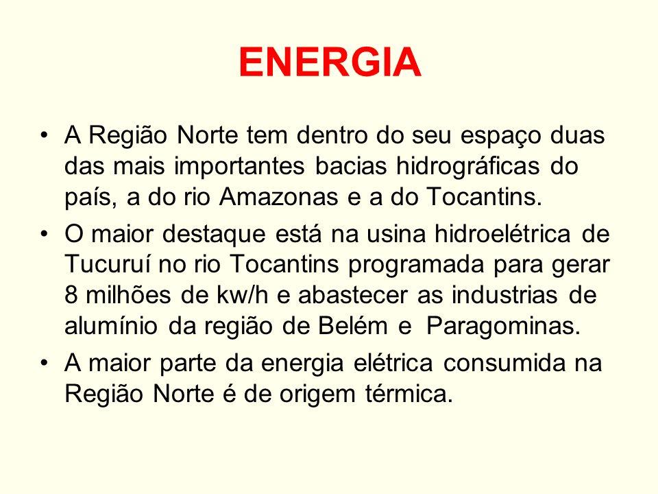 ENERGIA A Região Norte tem dentro do seu espaço duas das mais importantes bacias hidrográficas do país, a do rio Amazonas e a do Tocantins. O maior de