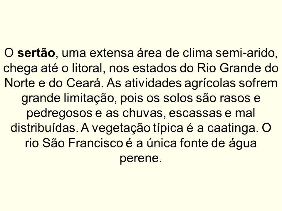 O sertão, uma extensa área de clima semi-arido, chega até o litoral, nos estados do Rio Grande do Norte e do Ceará. As atividades agrícolas sofrem gra