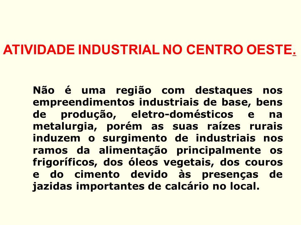 ATIVIDADE INDUSTRIAL NO CENTRO OESTE. Não é uma região com destaques nos empreendimentos industriais de base, bens de produção, eletro-domésticos e na