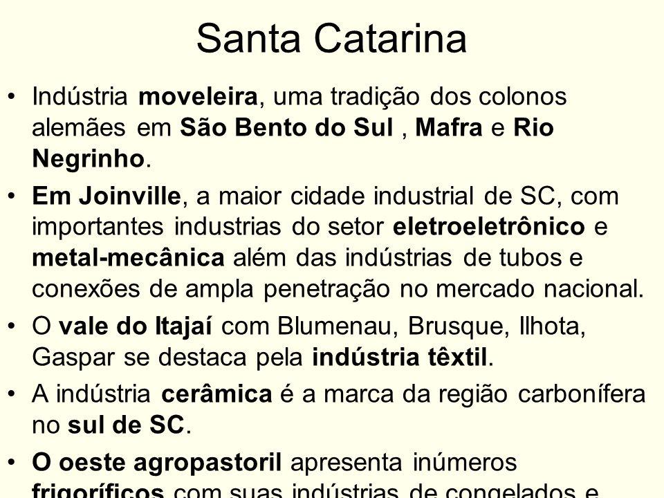Santa Catarina Indústria moveleira, uma tradição dos colonos alemães em São Bento do Sul, Mafra e Rio Negrinho. Em Joinville, a maior cidade industria
