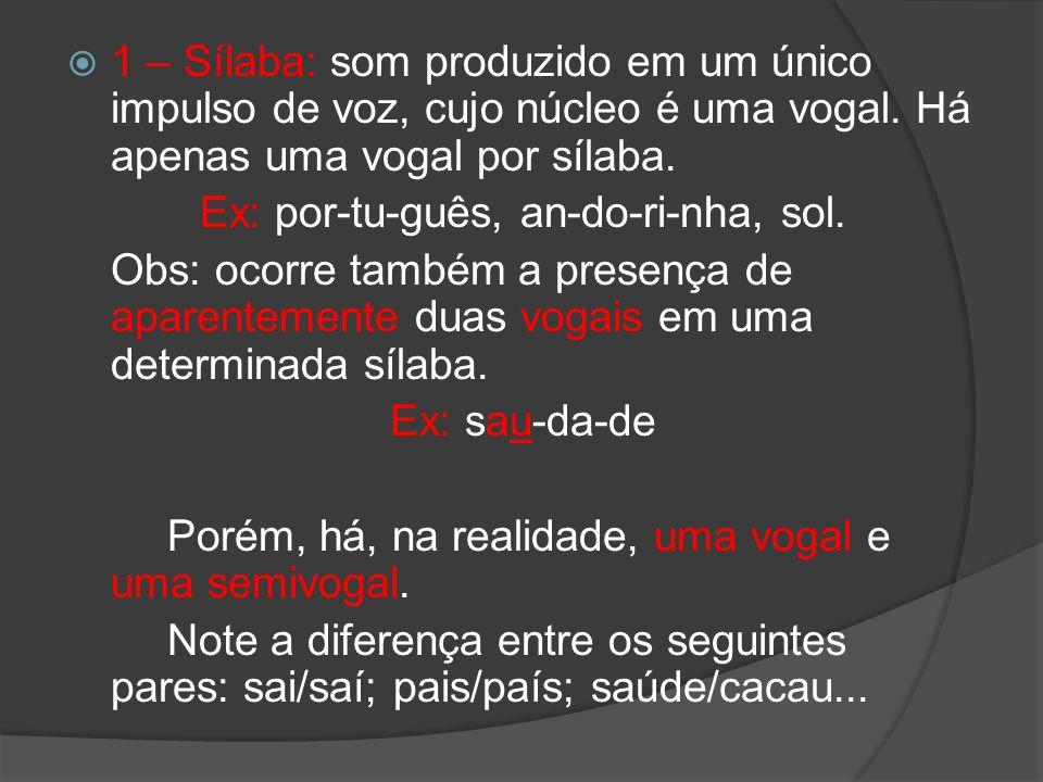 1 – Sílaba: som produzido em um único impulso de voz, cujo núcleo é uma vogal. Há apenas uma vogal por sílaba. Ex: por-tu-guês, an-do-ri-nha, sol. Obs