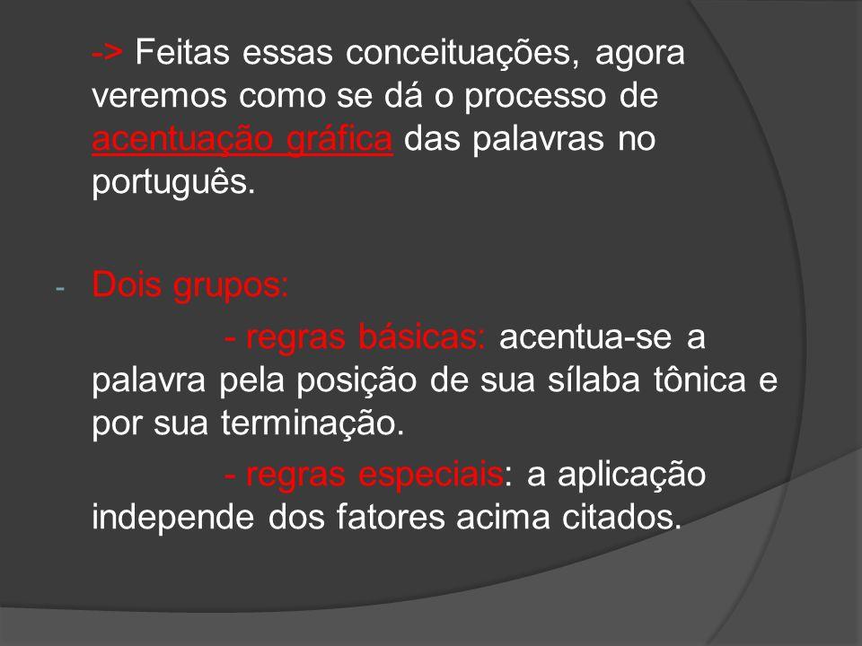 -> Feitas essas conceituações, agora veremos como se dá o processo de acentuação gráfica das palavras no português. - Dois grupos: - regras básicas: a