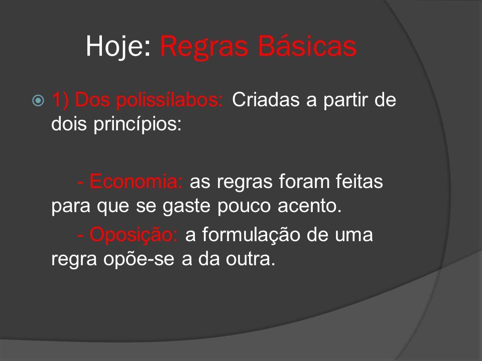Hoje: Regras Básicas 1) Dos polissílabos: Criadas a partir de dois princípios: - Economia: as regras foram feitas para que se gaste pouco acento. - Op