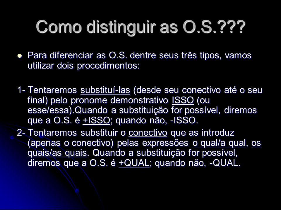 Como distinguir as O.S.??? Para diferenciar as O.S. dentre seus três tipos, vamos utilizar dois procedimentos: Para diferenciar as O.S. dentre seus tr