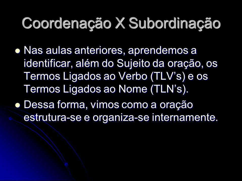 Coordenação X Subordinação Nas aulas anteriores, aprendemos a identificar, além do Sujeito da oração, os Termos Ligados ao Verbo (TLVs) e os Termos Li