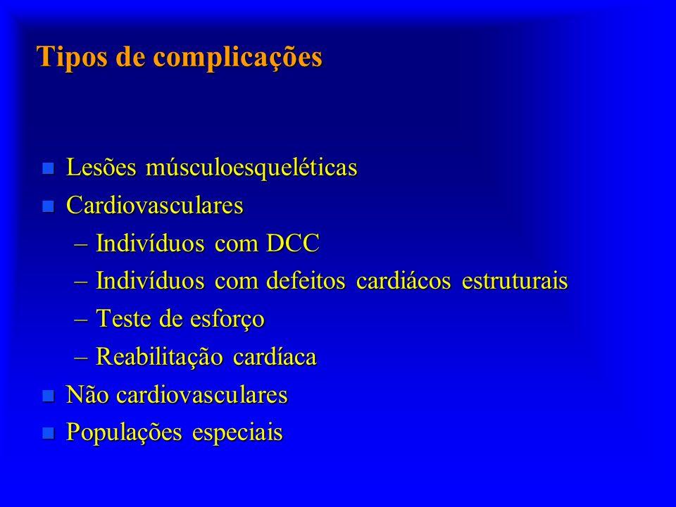 Tipos de complicações n Lesões músculoesqueléticas n Cardiovasculares –Indivíduos com DCC –Indivíduos com defeitos cardiácos estruturais –Teste de esf