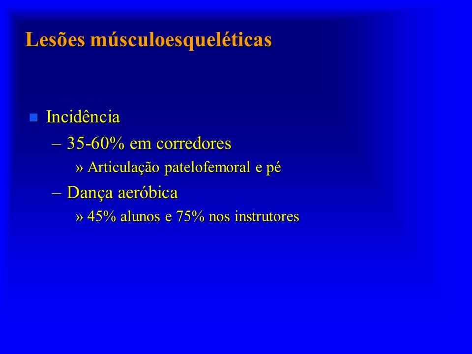Lesões músculoesqueléticas n Incidência –35-60% em corredores »Articulação patelofemoral e pé –Dança aeróbica »45% alunos e 75% nos instrutores