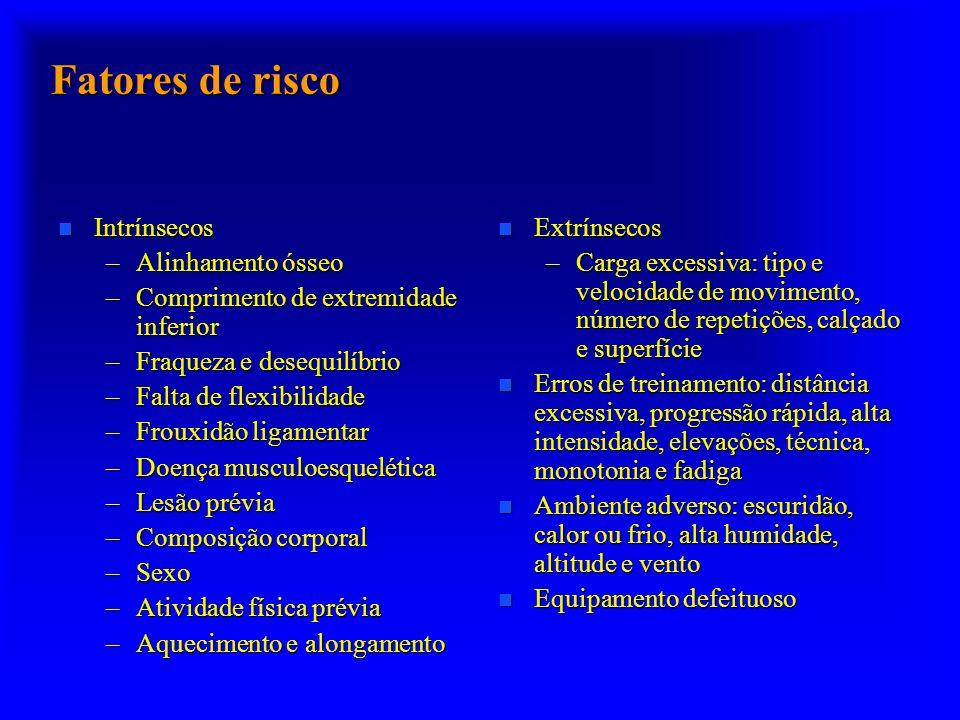 Fatores de risco n Intrínsecos –Alinhamento ósseo –Comprimento de extremidade inferior –Fraqueza e desequilíbrio –Falta de flexibilidade –Frouxidão li