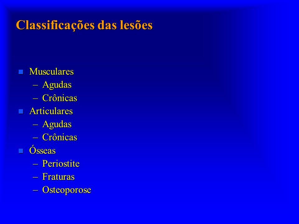 Classificações das lesões n Musculares –Agudas –Crônicas n Articulares –Agudas –Crônicas n Ósseas –Periostite –Fraturas –Osteoporose