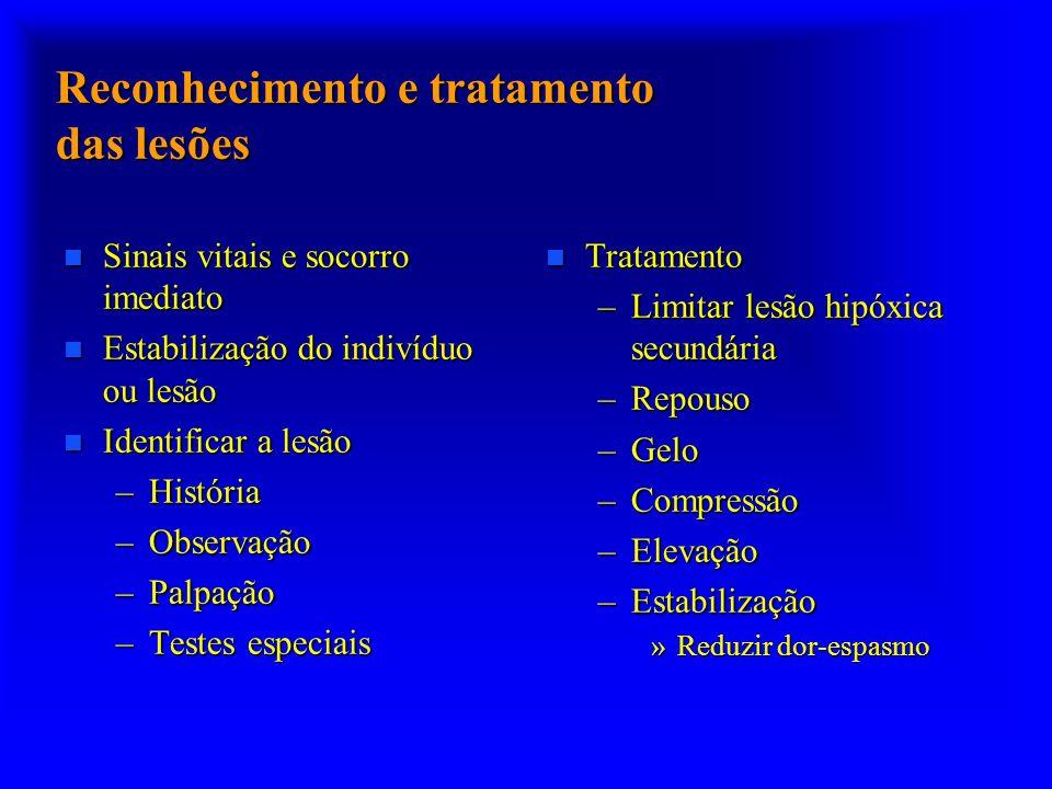 Reconhecimento e tratamento das lesões n Sinais vitais e socorro imediato n Estabilização do indivíduo ou lesão n Identificar a lesão –História –Obser