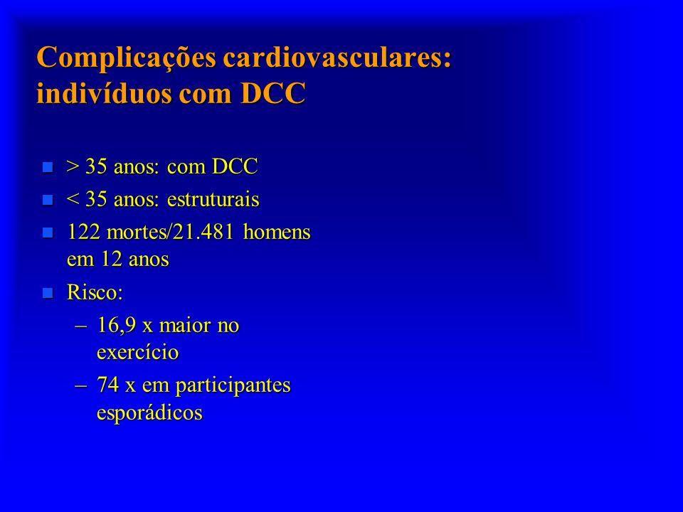 Complicações cardiovasculares: indivíduos com DCC n > 35 anos: com DCC n < 35 anos: estruturais n 122 mortes/21.481 homens em 12 anos n Risco: –16,9 x
