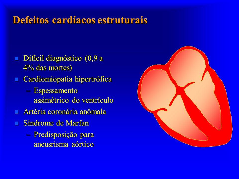 Defeitos cardíacos estruturais n Difícil diagnóstico (0,9 a 4% das mortes) n Cardiomiopatia hipertrófica –Espessamento assimétrico do ventrículo n Art