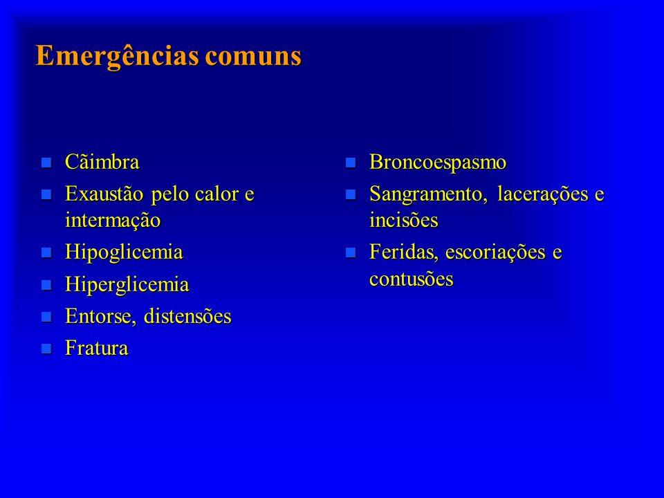 Emergências comuns n Cãimbra n Exaustão pelo calor e intermação n Hipoglicemia n Hiperglicemia n Entorse, distensões n Fratura n Broncoespasmo n Sangr