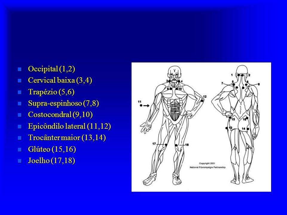 n Occipital (1,2) n Cervical baixa (3,4) n Trapézio (5,6) n Supra-espinhoso (7,8) n Costocondral (9,10) n Epicôndilo lateral (11,12) n Trocânter maior