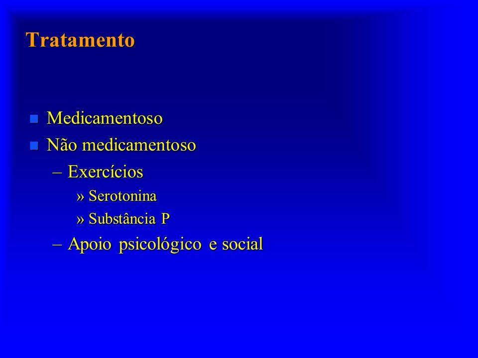 Tratamento n Medicamentoso n Não medicamentoso –Exercícios »Serotonina »Substância P –Apoio psicológico e social
