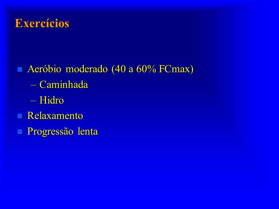 Exercícios n Aeróbio moderado (40 a 60% FCmax) –Caminhada –Hidro n Relaxamento n Progressão lenta