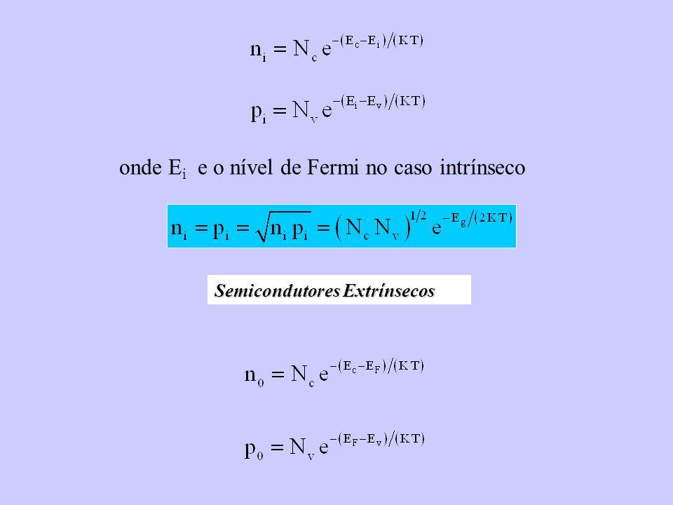 Semicondutores Extrínsecos onde E i e o nível de Fermi no caso intrínseco