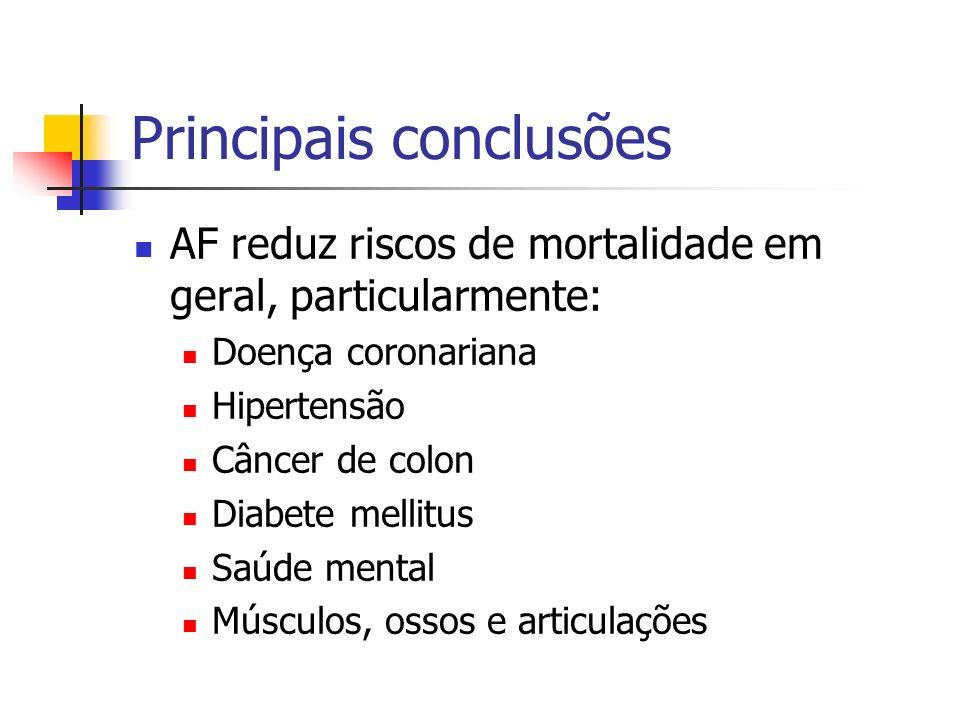 Principais conclusões AF reduz riscos de mortalidade em geral, particularmente: Doença coronariana Hipertensão Câncer de colon Diabete mellitus Saúde