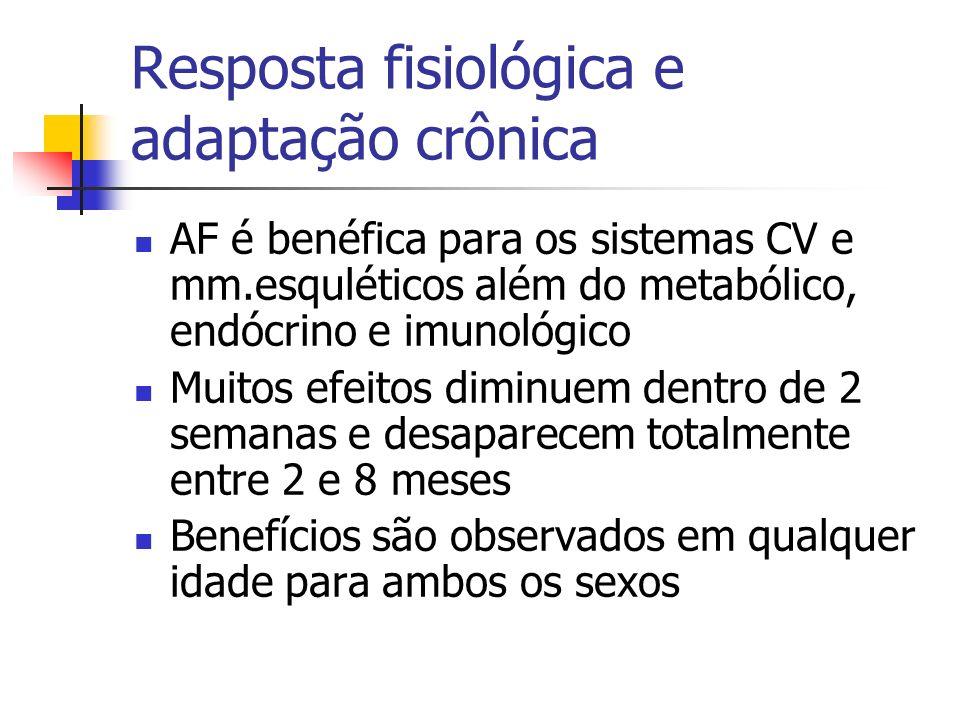 Resposta fisiológica e adaptação crônica AF é benéfica para os sistemas CV e mm.esquléticos além do metabólico, endócrino e imunológico Muitos efeitos