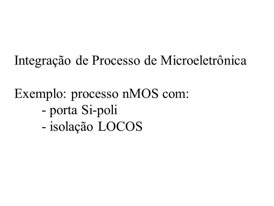 Integração de Processo de Microeletrônica Exemplo: processo nMOS com: - porta Si-poli - isolação LOCOS