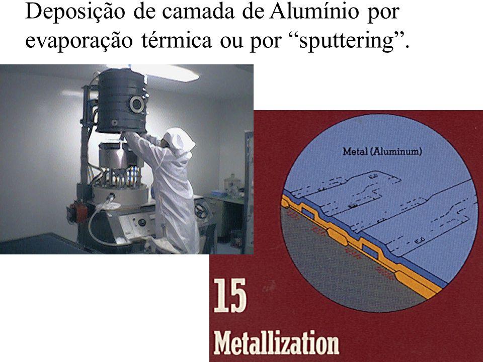Deposição de camada de Alumínio por evaporação térmica ou por sputtering.