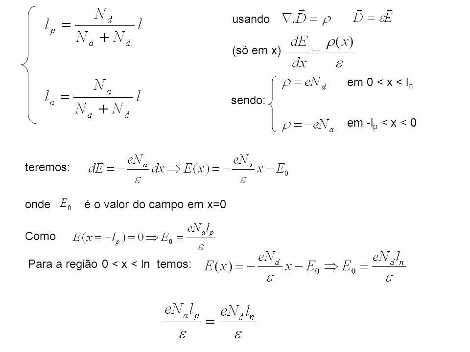 usando (só em x) sendo: em 0 < x < l n em -l p < x < 0 teremos: ondeé o valor do campo em x=0 Como Para a região 0 < x < ln temos: