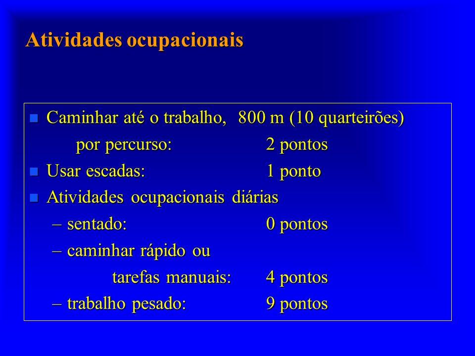 Atividades ocupacionais n Caminhar até o trabalho, 800 m (10 quarteirões) por percurso:2 pontos n Usar escadas: 1 ponto n Atividades ocupacionais diár