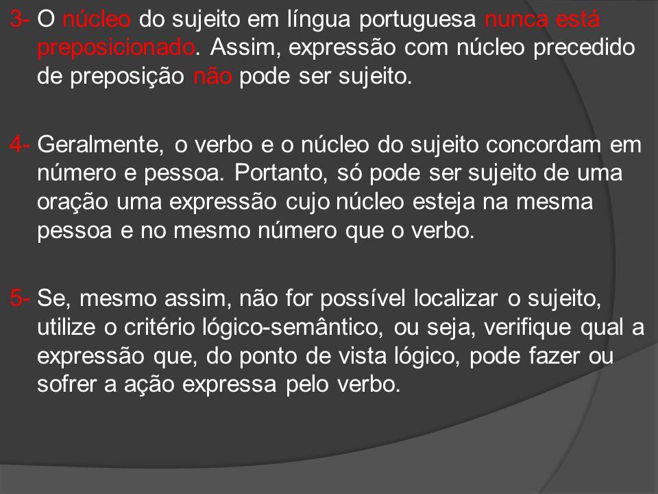 3- O núcleo do sujeito em língua portuguesa nunca está preposicionado. Assim, expressão com núcleo precedido de preposição não pode ser sujeito. 4- Ge
