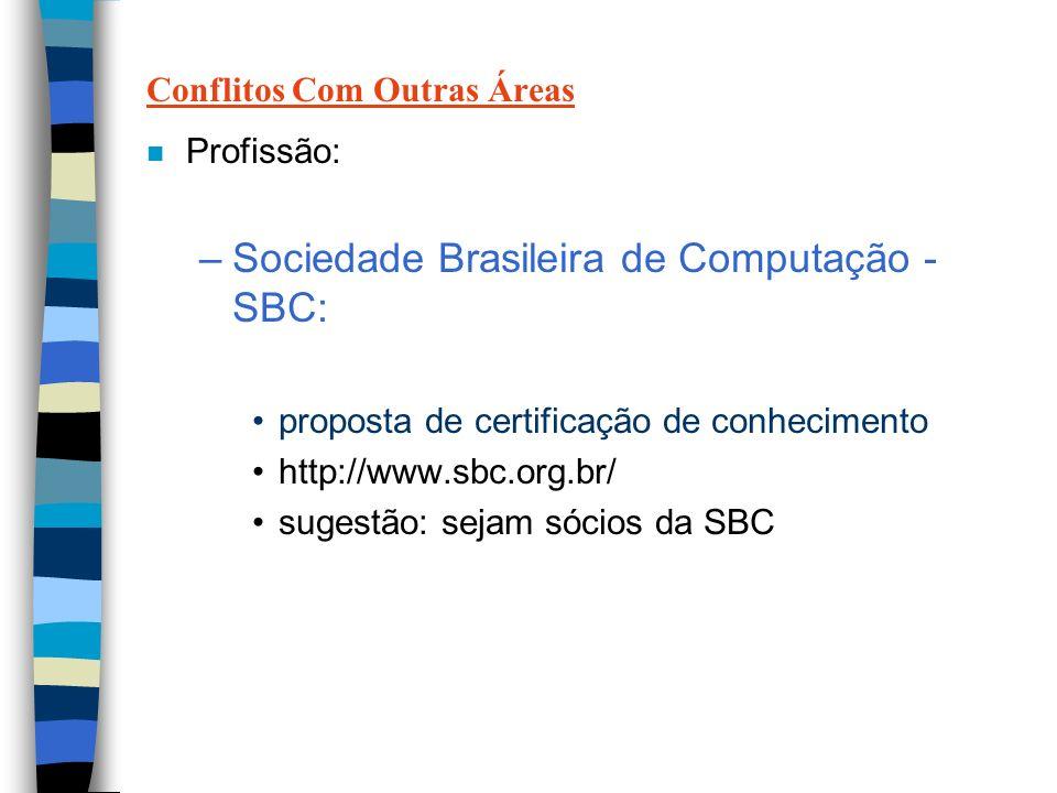 Conflitos Com Outras Áreas n Profissão: –Sociedade Brasileira de Computação - SBC: proposta de certificação de conhecimento http://www.sbc.org.br/ sugestão: sejam sócios da SBC