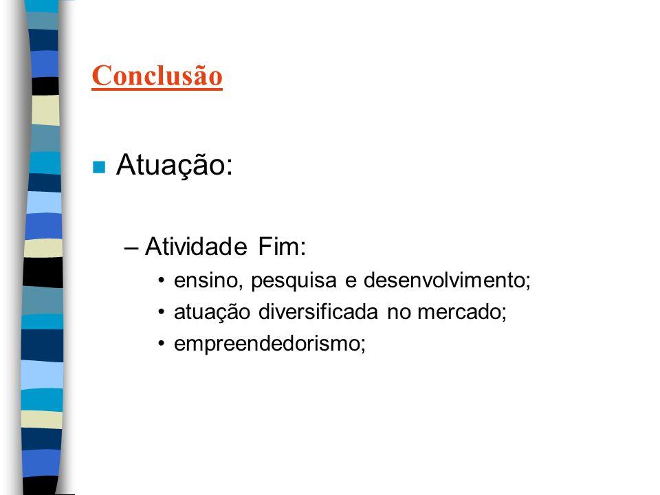 Conclusão n Atuação: –Atividade Fim: ensino, pesquisa e desenvolvimento; atuação diversificada no mercado; empreendedorismo;