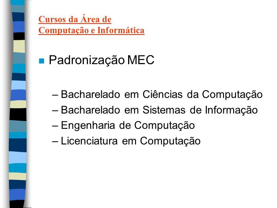Cursos da Área de Computação e Informática n Padronização MEC –Bacharelado em Ciências da Computação –Bacharelado em Sistemas de Informação –Engenharia de Computação –Licenciatura em Computação