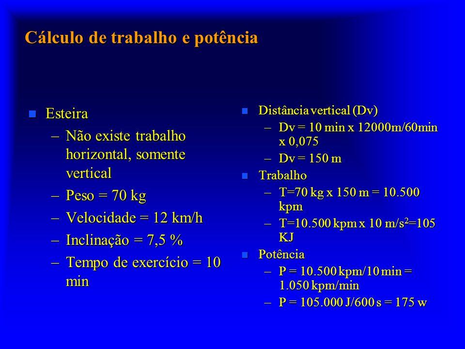 Cálculo de trabalho e potência n Esteira –Não existe trabalho horizontal, somente vertical –Peso = 70 kg –Velocidade = 12 km/h –Inclinação = 7,5 % –Te