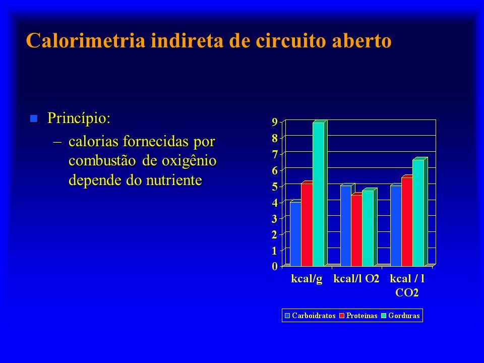 Calorimetria indireta de circuito aberto n Princípio: –calorias fornecidas por combustão de oxigênio depende do nutriente
