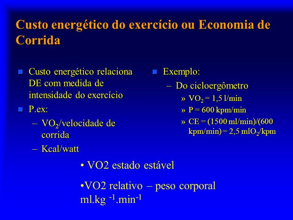 Custo energético do exercício ou Economia de Corrida n Custo energético relaciona DE com medida de intensidade do exercício n P.ex: –VO 2 /velocidade