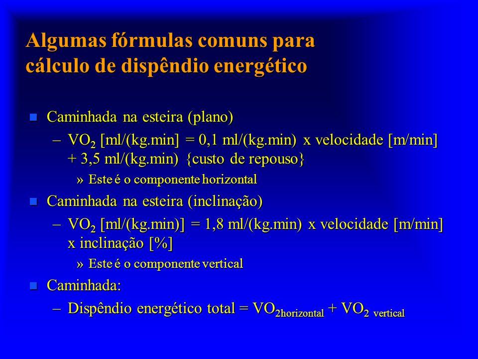 Algumas fórmulas comuns para cálculo de dispêndio energético n Caminhada na esteira (plano) –VO 2 [ml/(kg.min] = 0,1 ml/(kg.min) x velocidade [m/min]